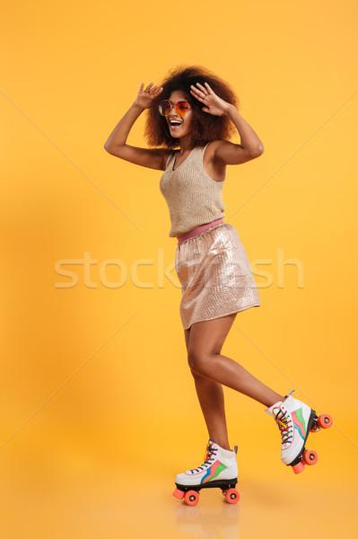 Tam uzunlukta portre neşeli güzel afro amerikan Stok fotoğraf © deandrobot
