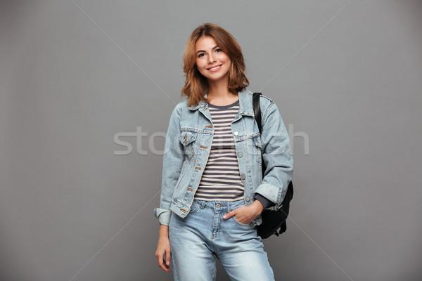 Portrait souriant joli fille denim veste Photo stock © deandrobot