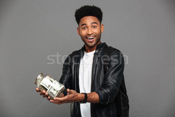 Portret tevreden opgewonden afro amerikaanse man Stockfoto © deandrobot