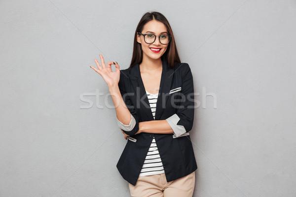 Mutlu Asya iş kadını gözlük neden Stok fotoğraf © deandrobot