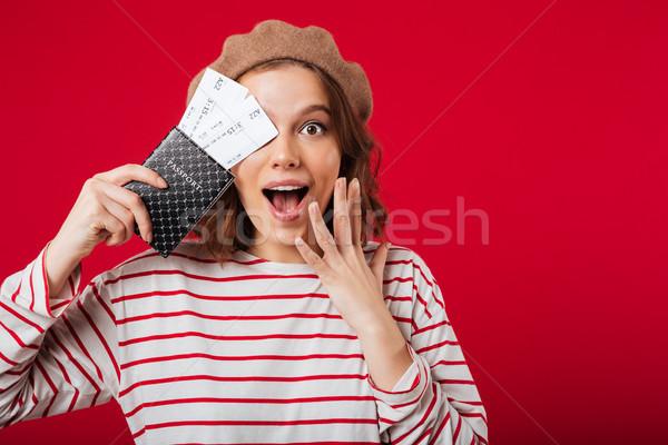 портрет возбужденный женщину паспорта Сток-фото © deandrobot