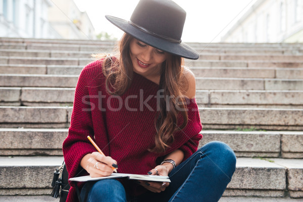 Portret asian vrouw hoed trui mooie Stockfoto © deandrobot