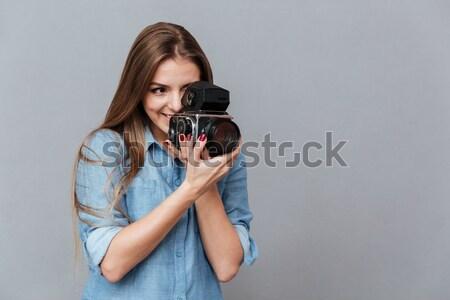 Portret blij glimlachende vrouw gebreid trui Stockfoto © deandrobot