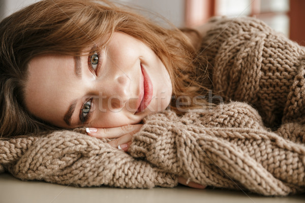 Portrait closeup of smiling lovely woman with brown curly hair,  Stock photo © deandrobot