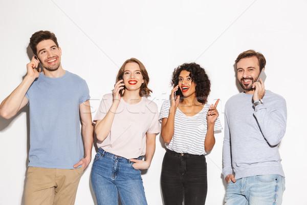 Gruppo felice gente che parla isolato bianco Foto d'archivio © deandrobot