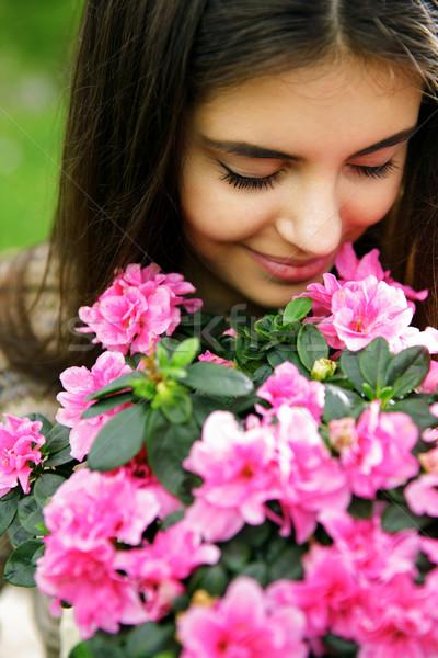 Сток-фото: розовый · цветы · весны · счастливым · глазах