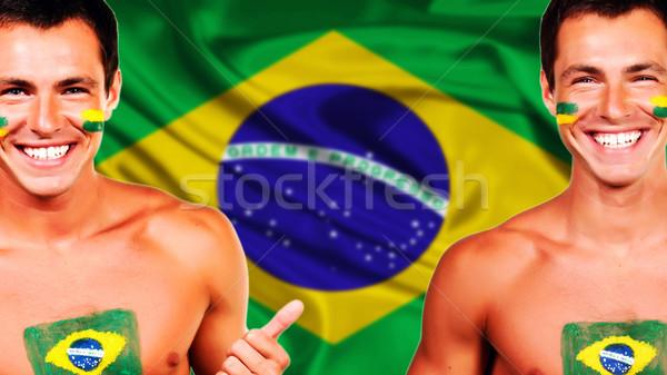 Mutlu fan Brezilya bayrak Stok fotoğraf © deandrobot