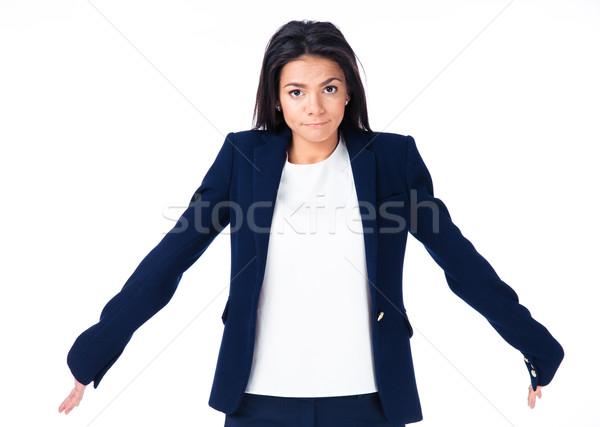 Cute mujer de negocios espalda blanco mirando cámara Foto stock © deandrobot