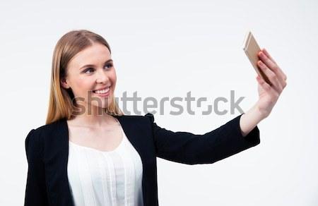 ストックフォト: 女性実業家 · 写真 · スマートフォン · 幸せ · 小さな