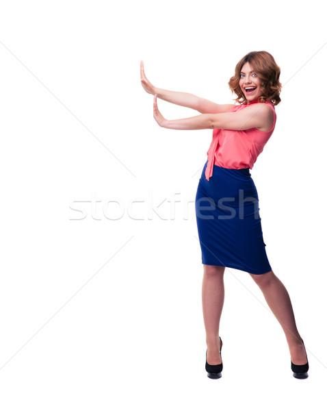 Boldog nő készít stoptábla pálmafák teljes alakos Stock fotó © deandrobot