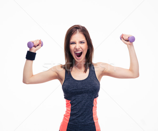 Portrait of a crazy woman with dumbbells  Stock photo © deandrobot