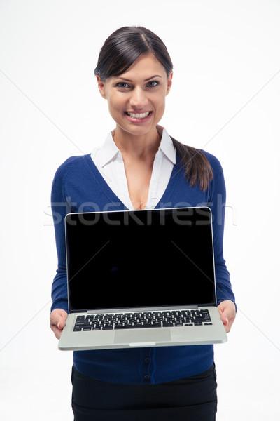 Mutlu işkadını dizüstü bilgisayar ekran yalıtılmış Stok fotoğraf © deandrobot