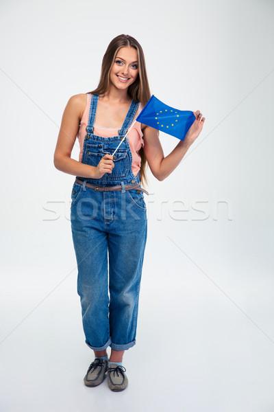 幸せ 女性 ヨーロッパの 組合 フラグ ストックフォト © deandrobot