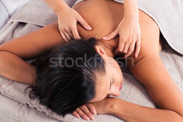 массажист массаж женщину тело Spa салона Сток-фото © deandrobot