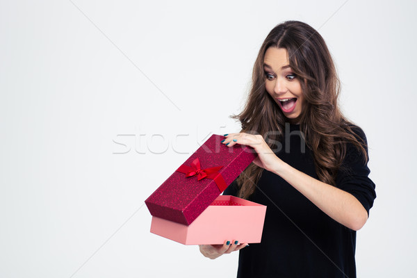 Portrait of a cheerful woman opening gift box Stock photo © deandrobot