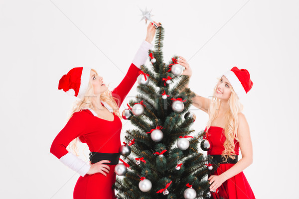 Two sisters twins in santa claus costumes decorating Christmas tree  Stock photo © deandrobot