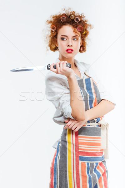 Donna grembiule coltello bella Foto d'archivio © deandrobot