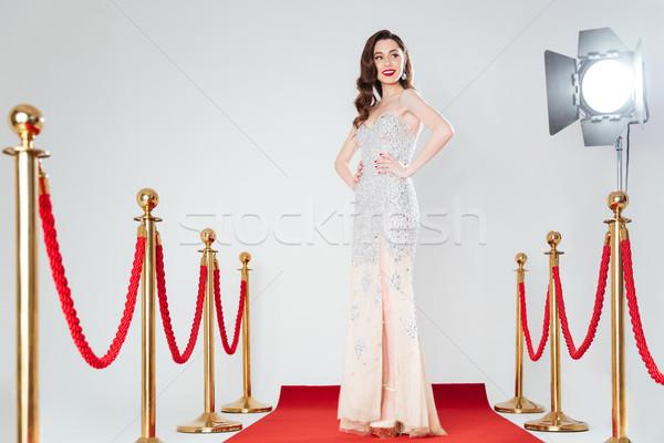 Nő pózol vörös szőnyeg boldog divat ruha Stock fotó © deandrobot