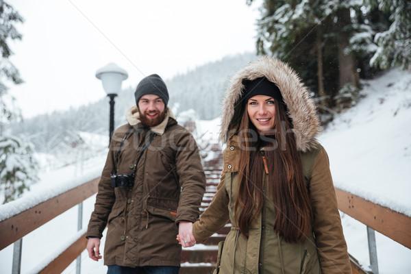 пару , держась за руки ходьбе лестницы зима гор Сток-фото © deandrobot