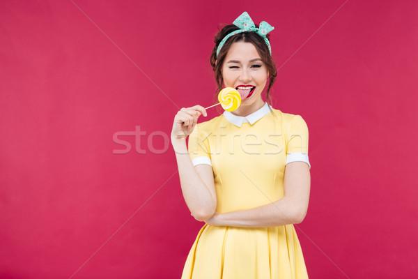 Glücklich Essen süß Lutscher Stock foto © deandrobot