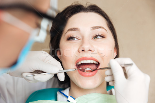Close-up of a patient with her mouth open Stock photo © deandrobot