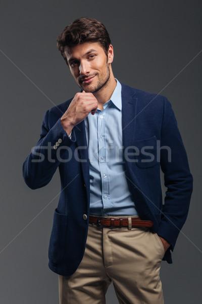 Stock foto: Gut · aussehend · jungen · nachdenklich · Geschäftsmann · Denken · etwas