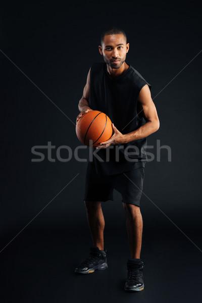 Сток-фото: портрет · серьезный · африканских · спортсмен · играет
