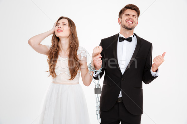 Newlyweds in chain Stock photo © deandrobot