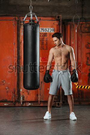 Giovani forte boxer formazione palestra foto Foto d'archivio © deandrobot
