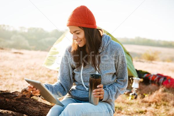 Gülümseyen kadın çadır tablet kadın spor kaya Stok fotoğraf © deandrobot