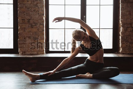 Attractive young fitness woman make sport exercises. Stock photo © deandrobot