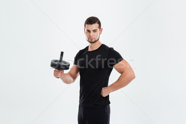 Fitness man with roller Stock photo © deandrobot