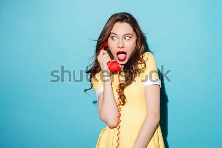 Frightened girl in underwear Stock photo © deandrobot