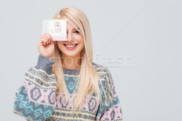 Bella modello maglione guardando fotocamera donna Foto d'archivio © deandrobot