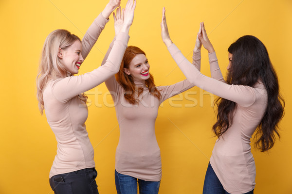 Cheerful three ladies give a high five to each other. Stock photo © deandrobot