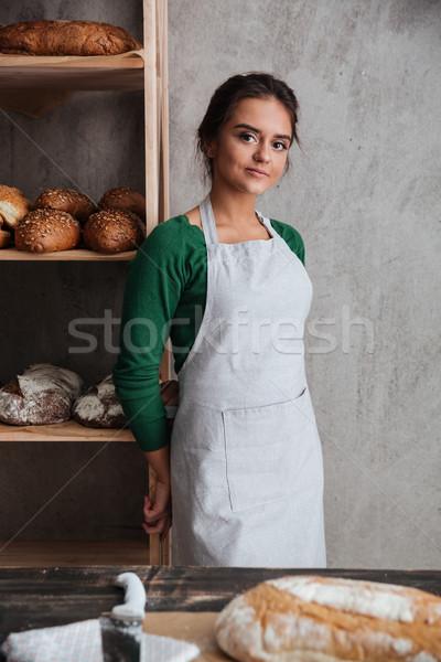 Boldog fiatal hölgy pék áll pékség Stock fotó © deandrobot