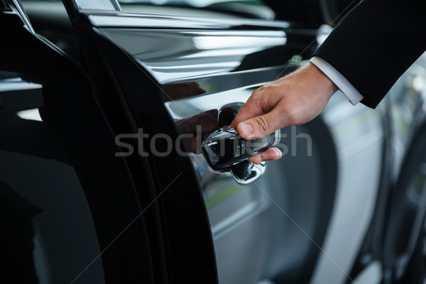 Close up of a male hand closing a car door Stock photo © deandrobot