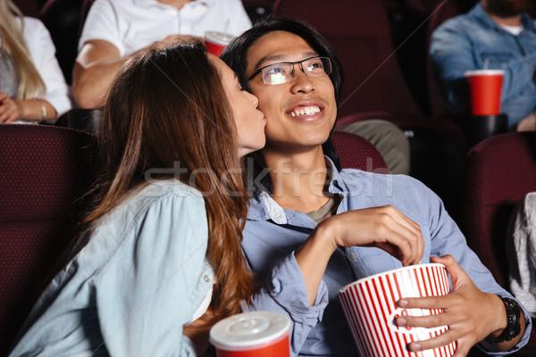 Сток-фото: любящий · пару · сидят · кино · Смотреть · фильма