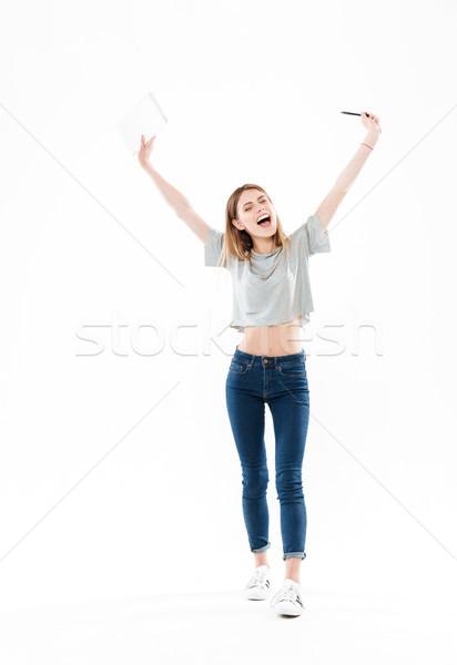 Portret gelukkig vrolijk meisje Stockfoto © deandrobot