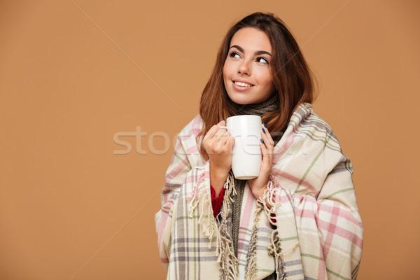 Portré fiatal lány fedett pléd tart csésze Stock fotó © deandrobot