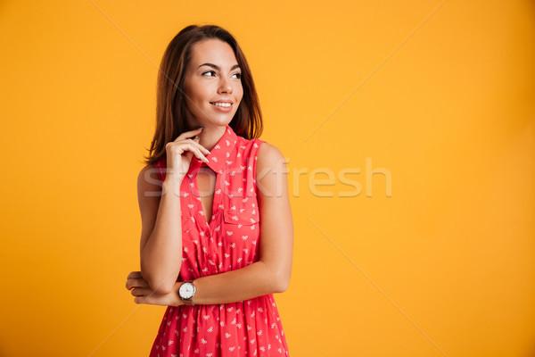 Сток-фото: портрет · молодые · красивой · брюнетка · женщину · красное · платье
