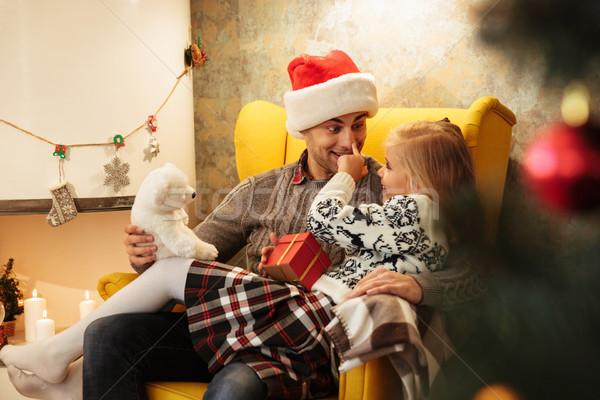смешные фото девочку прикасаться пальца носа Сток-фото © deandrobot