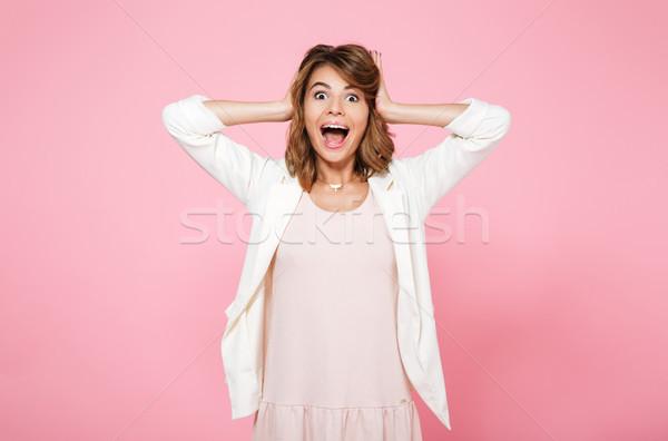 Retrato animado surpreendido menina verão Foto stock © deandrobot