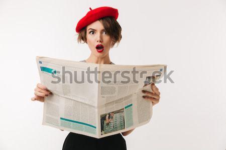портрет удивленный женщину красный берет Сток-фото © deandrobot