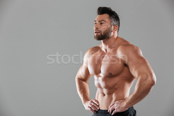 Portrait of a healthy strong shirtless male bodybuilder Stock photo © deandrobot