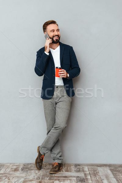 画像 幸せ あごひげを生やした 男 ビジネス ストックフォト © deandrobot