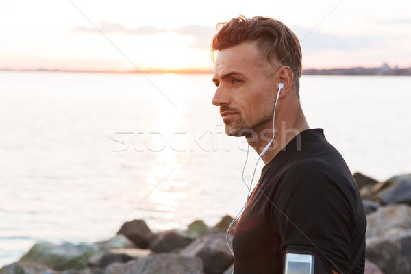 Portret gericht luisteren naar muziek Stockfoto © deandrobot