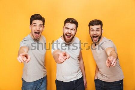 Groep vrolijk mensen gezichten Stockfoto © deandrobot