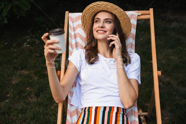 楽しい 若い女の子 ハンモック 市 公園 ストックフォト © deandrobot