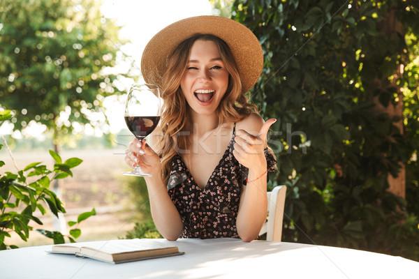 изображение женщину соломенной шляпе питьевой Сток-фото © deandrobot